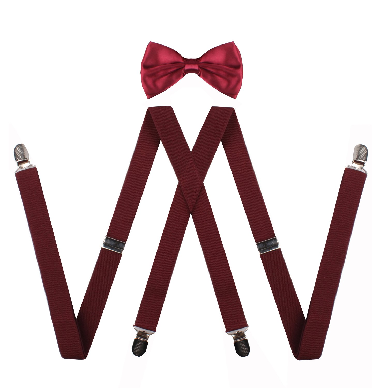 PZLE Men's Elastic Suspenders with Bow Tie Set X Shape SDFHARY17021