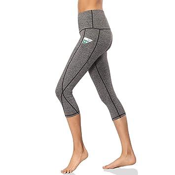 cd9de0de9f0b0 SOUTEAM Women Tummy Control Athletic Workout Leggings Capri Side Pocket  Fitness Running Pants, Dark &