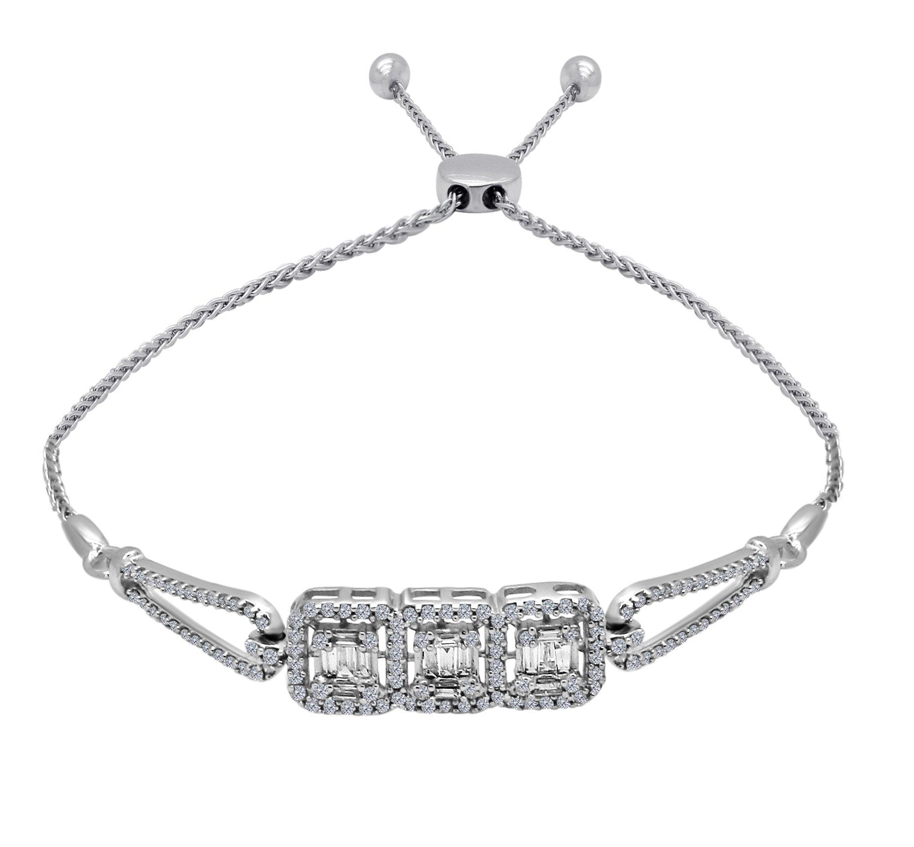 OMEGA JEWELLERY 14K White Gold Round & Baguette Diamond Cluster Bolo Bracelet for Women (0.79 Ct)