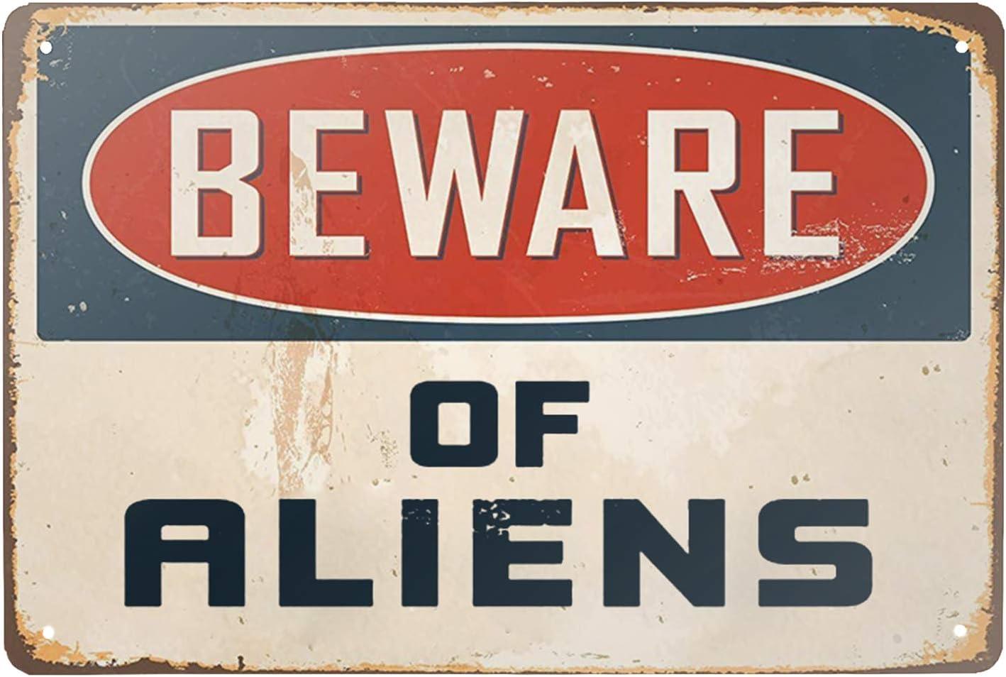 """Lilyanaen New Metal Sign Aluminum Sign Beware of Aliens Decorative for Outdoor & Indoor 12"""" x 8"""""""