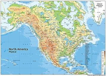 Nordamerika Physische Karte Papier Laminiert A1 Grosse 59 4 X