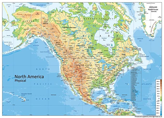 North America Physical Map - Paper Laminated - A1 Size 59.4 x 84.1 cm