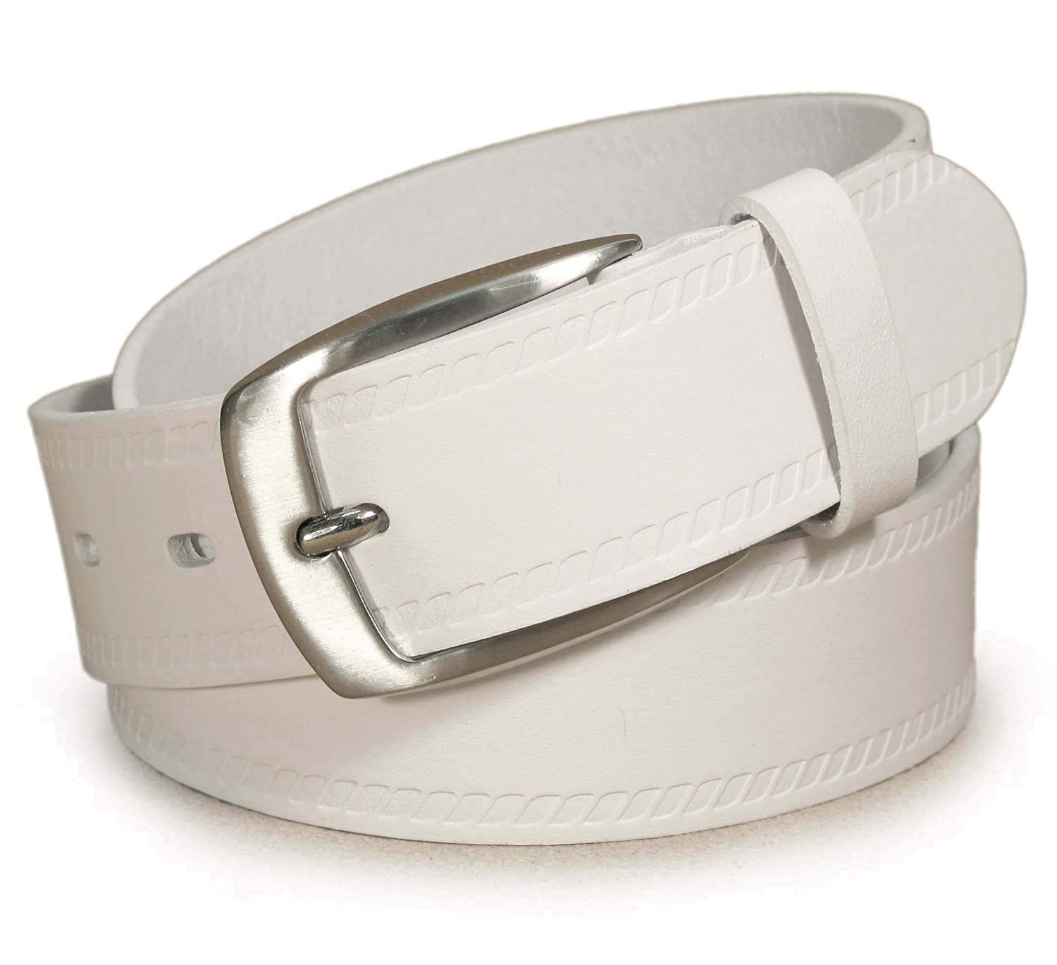 UM4 Mens Real Genuine Leather White Belt 1.25 Wide S-XL Thick Long Casual Jeans