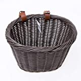 ZUKKA Handlebar Bike Basket,Front Handlebar Adult Storage Basket, Waterproof with Leather Straps,Bicycle Accessory