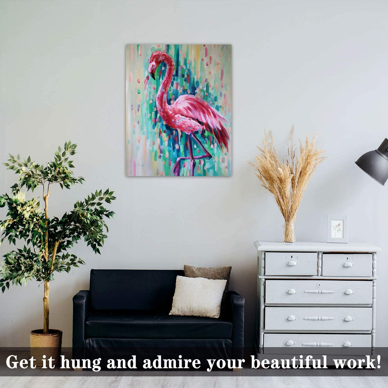 """Flamingo SENWANG Paint by Number for Adult Oil Painting Canvas Kits 16/"""" x 20/"""" Paintwork with 62 Brushes Pigments Art Crafts for Home DIY Wall Decor"""