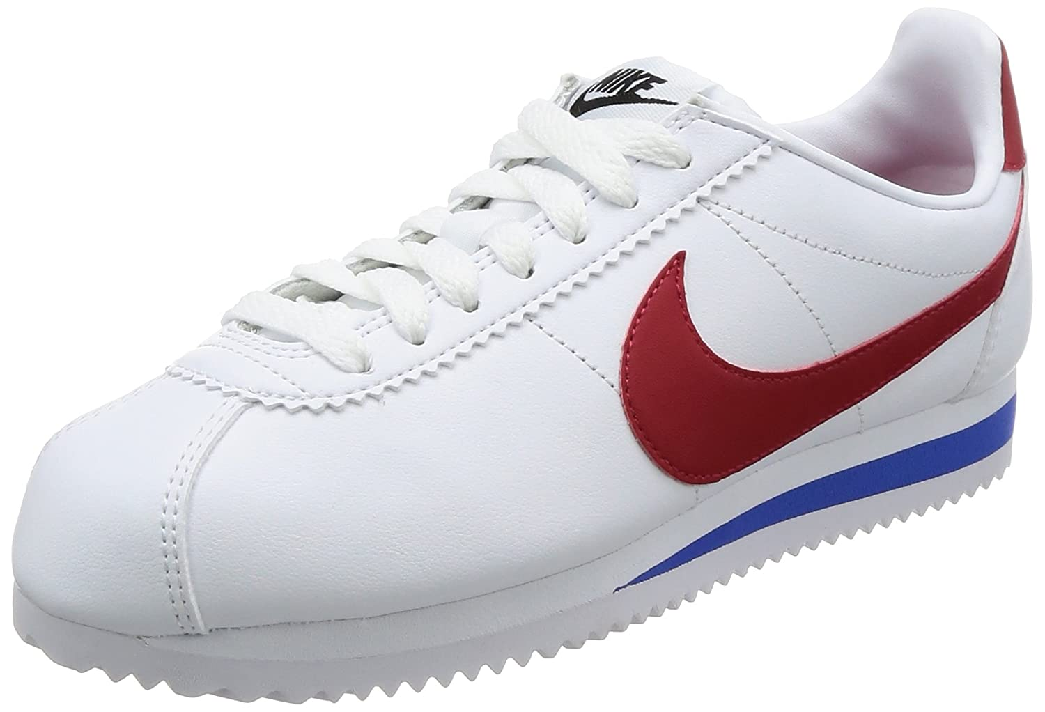 NIKE Women's Classic Cortez Leather Casual Shoe B01N4IC8W5 6.5 B(M) US|White / Varsity Red-varsity Royal