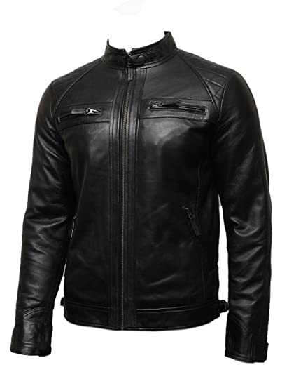 Mens Leather Biker Jacket Black BNWT 100% Real Leather S-5XL (x.