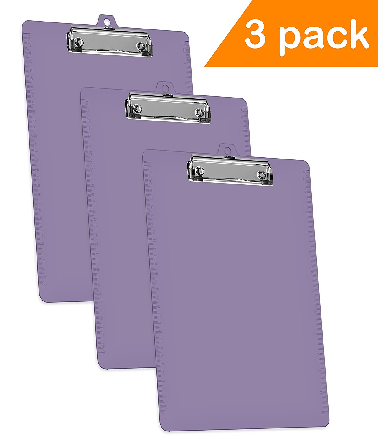 Acrimet Clipboard Low Profile Clip Letter Size A4 (Solid Purple Color) (3 Pack) 134.L.O