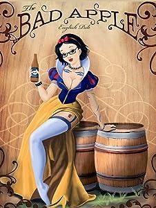 Pinup Girl Metal Sign Bad Apple Cider Retro Metal Wall Plaque Art Vintage Advertising Sign man cave