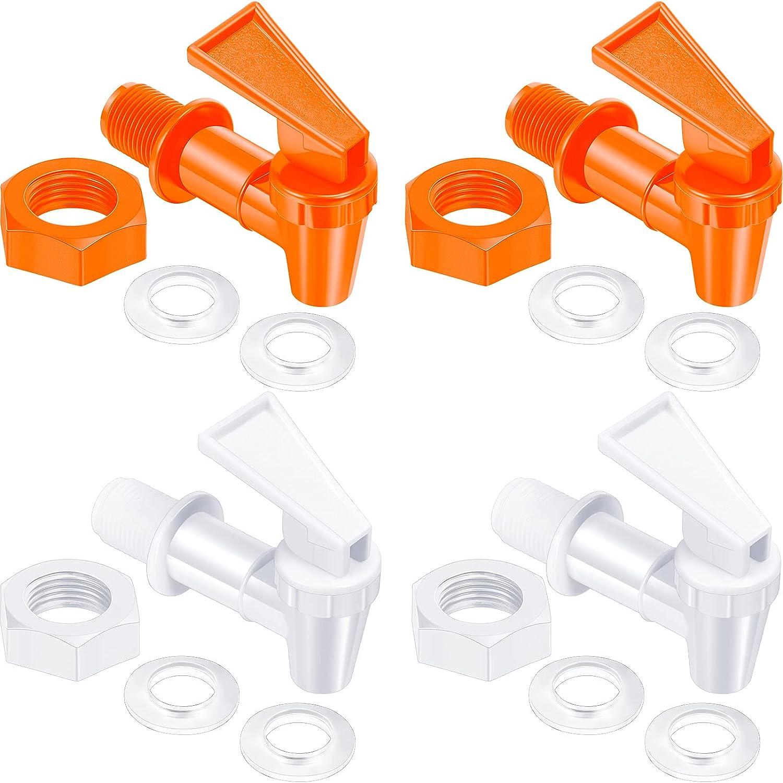 4 Sets BPA-Free Replacement Cooler Faucet Water Bottle Jug, Dispenser Tap Set, Reusable Spigot Spout Water Beverage Lever Pour Dispenser Valve Water Crock Tap (White, Orange)