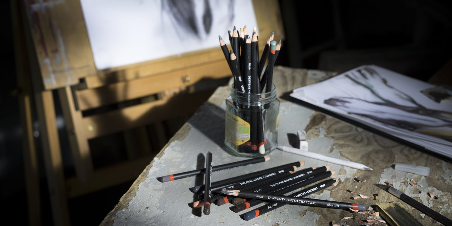 Derwent Tinted Charcoal Pencils, 4mm Core, Metal Tin, 24 Count (2301691) by Derwent (Image #3)