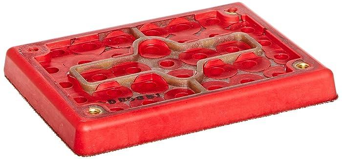 3M Hookit Clean Sanding Pad 20435, 3 in x 4 in x 1/2 in 33 Holes Red Foam