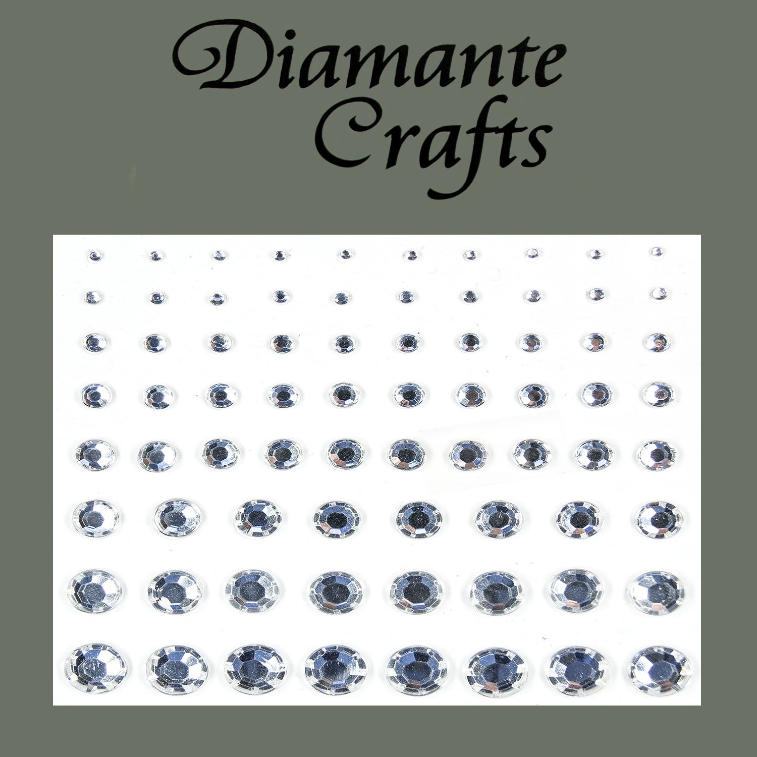 1mm - 8mm Clear Diamante Self Adhesive Rhinestone Vajazzle Body Nail Gems - created exclusively for Diamante Crafts