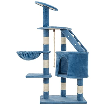 Ollieroo 48u0026quot; H Cat Tree Tower Condo Furniture Scratching Post House  Three Layers Kitten Condo