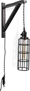 Rustic State Vintage Farmhouse Design Wall Lamp Sconce Set with Wood Wall Bracket Cylinder Cage and Tube LED Energy Saver Edison Light Bulb