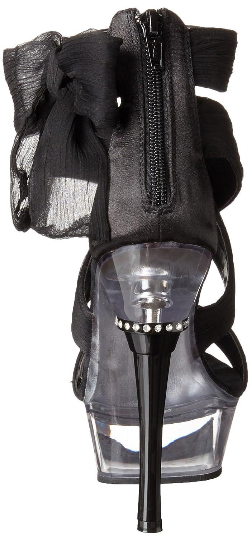 Pleaser Women's Allure-664/BCF/C Platform Sandal B00B470XBY 12 B(M) US|Black Chiffon/Clear