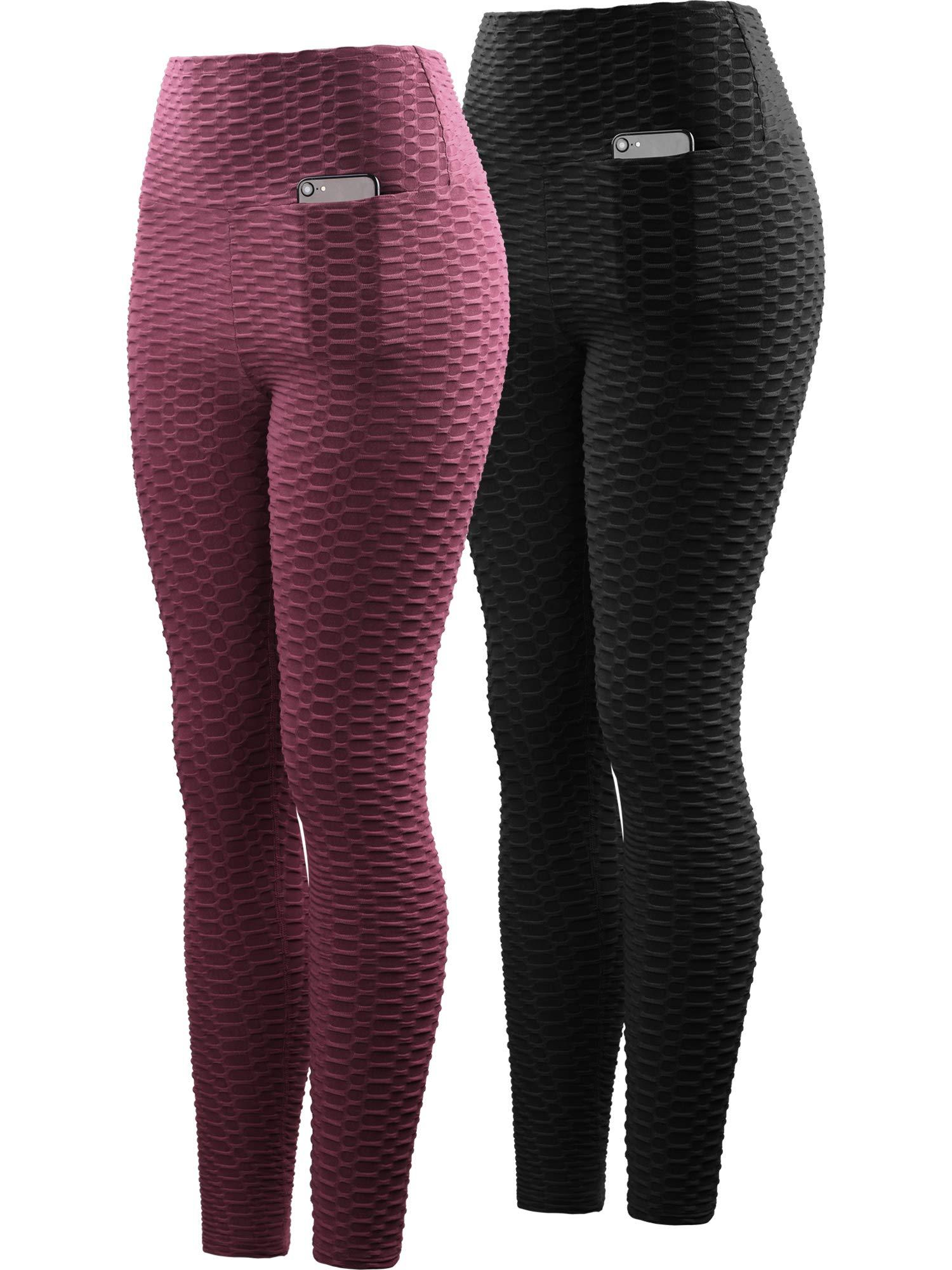Neleus Women's 2 Pack Tummy Control High Waist Leggings Out Pocket,9036,Black/Maroon,S,EU M by Neleus (Image #1)
