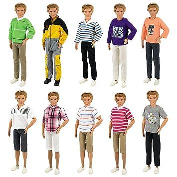068efe7f5da6 Miunana Lot 5 PCS Wear Clothes outfit for Barbie s Boy Friend Ken Doll Long  Sleeve