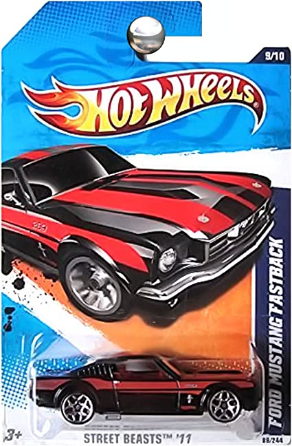 Ford Mustang Fastback Black Color 2011 Hot Wheels Street Beasts 1//64 diecast car No 89