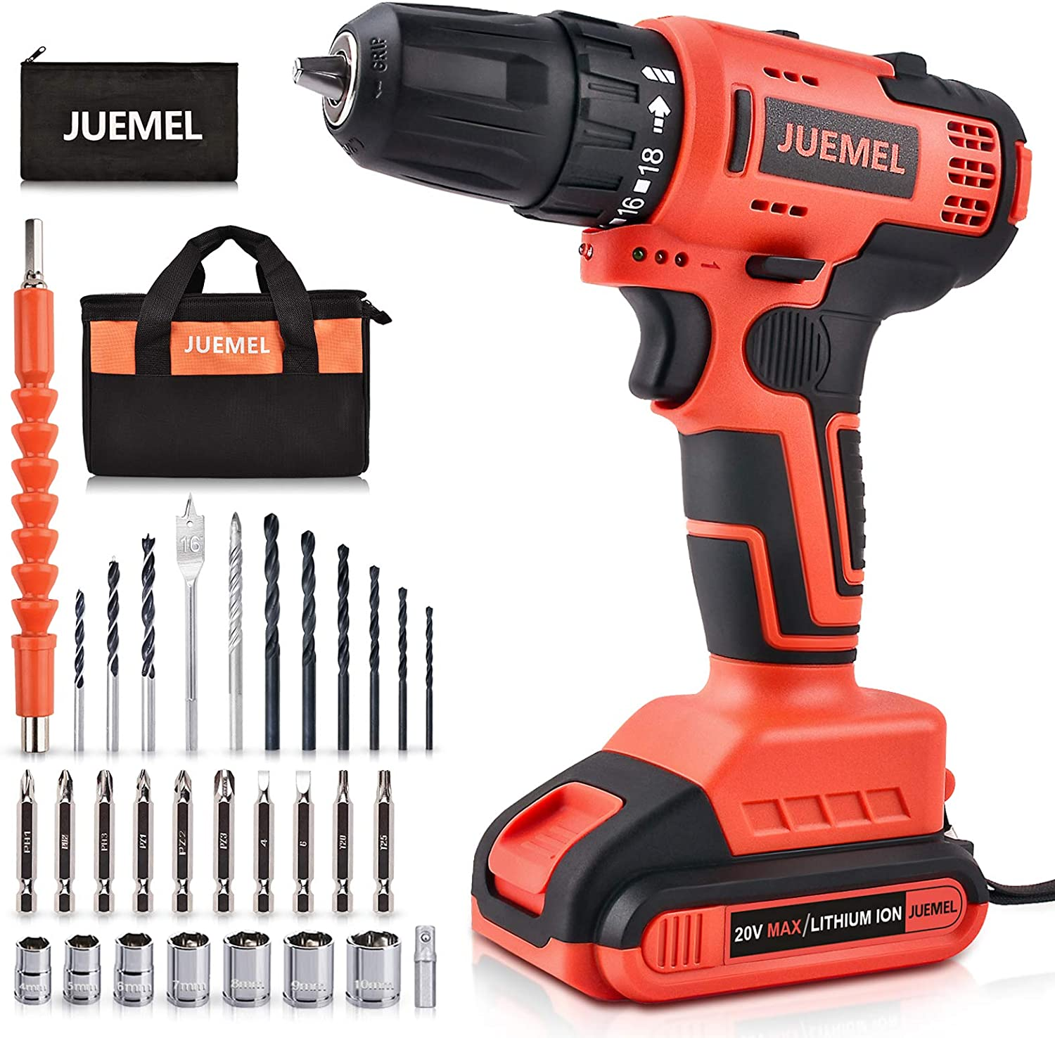 Cordless Drill 20V, JUEMEL Brushless Drill Driver Set, Lithium-ion Power Electric Drill with 3/8'' Keyless Chuck, 430in-lbs, 18+1 Clutch and 0-2200RPM Variable Speed for Home Improvement and DIY Tasks