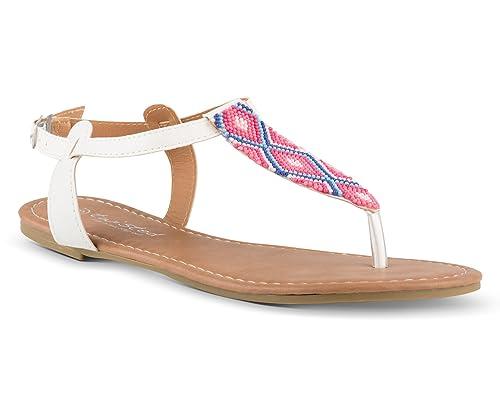 1fdf2720f0a77 Twisted Women s Daisy Beaded Aztec T-Strap Flat Sandal - DAISY732 White