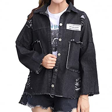 Harajuku Oversized Jeans Jacket Women Patch Designs Ripped Denim Coat Spring Autumn Long Sleeve Jaqueta Feminina