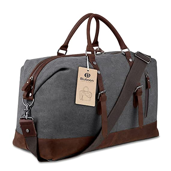 Overnight Bag Canvas Genuine Leather Travel Duffel Tote