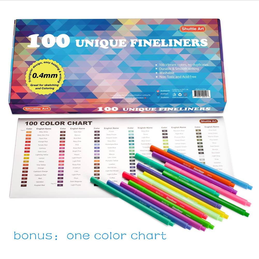 Fineliner Pens Shuttle Art 100 Coloured 04mm Wiring Diagram Free Download Art100 Colouring Pen Set Fine Line Drawing Point Markers Perfect For Adult Books