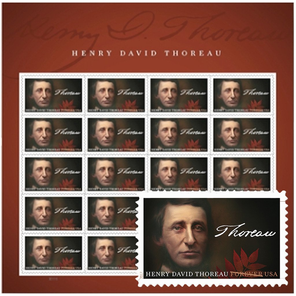 Henry David Thoreau Sheet of 20 USPS First Class Postage Stamps Walden Environment Ecology