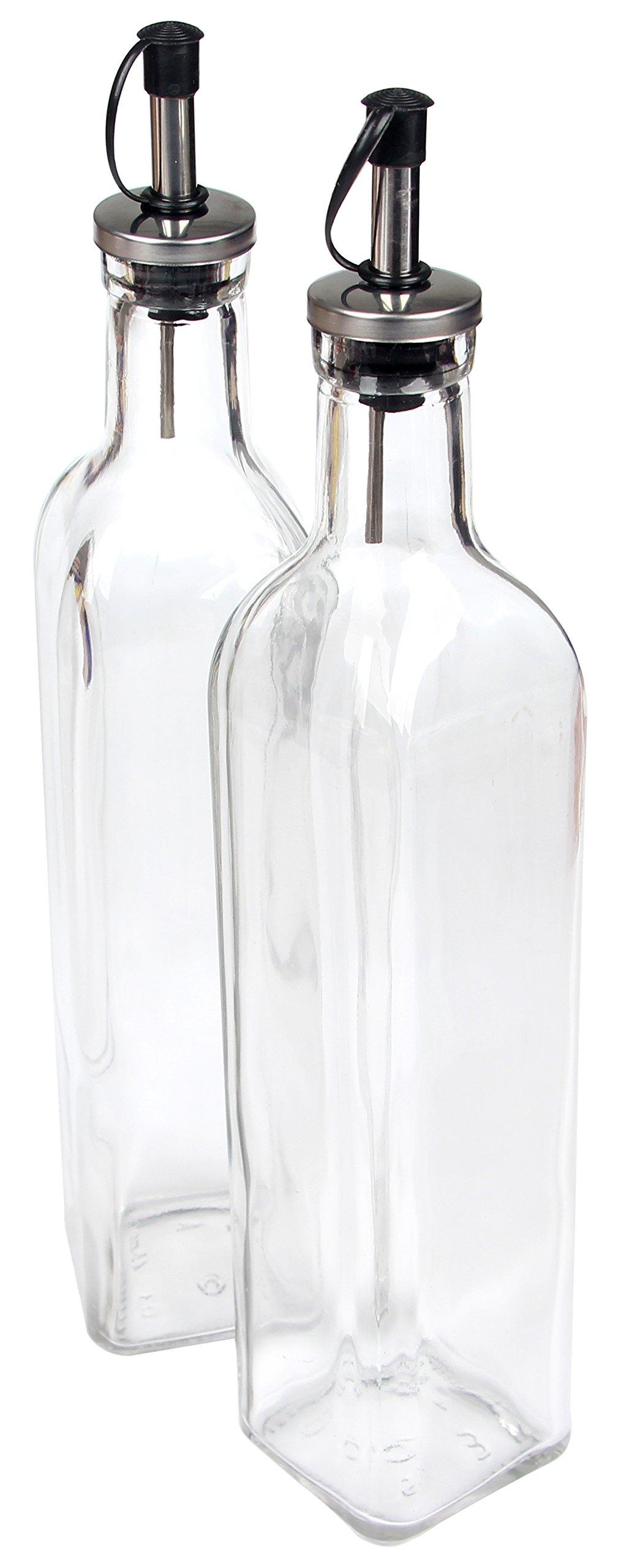 Hierkryst Container Spout Oil Dispenser Bottle Set for Kitchen Cruet Oil Dispenser Glass Bottle for Cooking,With Lever Release Pourer,17oz,pack of 2