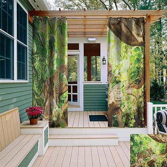 DONEECKL - Cortina Impermeable para Exteriores, diseño de Parches de Vaqueros de Safari, Estilo Safari, con diseño estilizado, aislada con Ojales, para Dormitorio, Color marrón y Negro: Amazon.es: Jardín