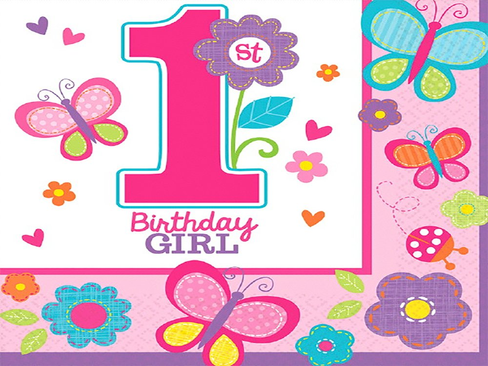Amscan Sweet Girl 1st Birthday Flowers & Butterflies 2-Ply Luncheon Napkins Paper 6'' x 6'' Pack 18 Others Party Supplies (216 Piece) by Amscan