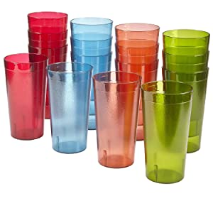 Cafe 20-ounce Break-Resistant Plastic Restaurant-Style Beverage Tumblers | Set of 16 Multicolor
