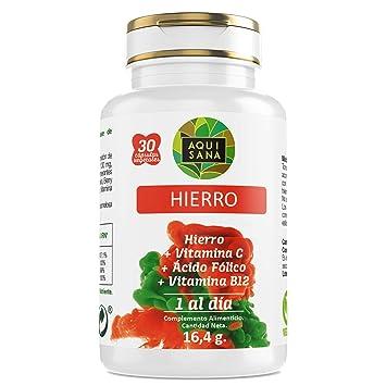 Hierro - Aquisana + Ácido Fólico | Suplemento Alimenticio con Vitamina C y Vitamina B12 | Mayor vitalidad |Libre de alérgenos- 30 Cápsulas (30 ...