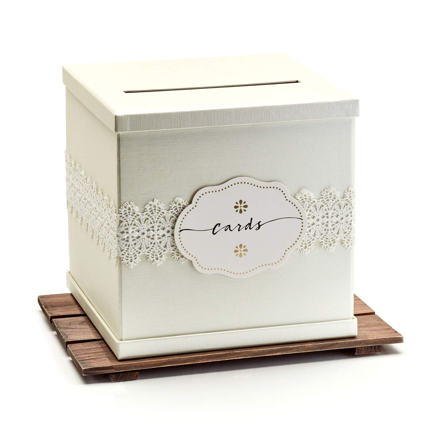 Hayley Cherie - Ivory Gift Card Box with White Lace and Cards Label - Ivory Textured Finish - Large Size 10'' x 10'' - Perfect for Weddings, Baby Showers, Birthdays, Graduation