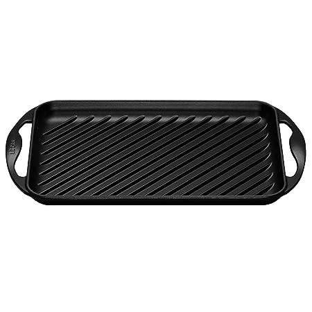 Le Creuset - Parrilla Grill Rectangular de hierro colado esmaltado, 32cm, color negro mate