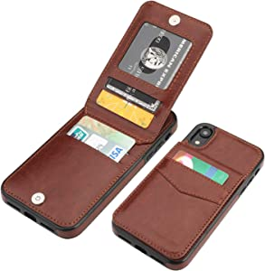 KIHUWEY iPhone XR Case Wallet with Credit Card Holder, Premium Leather Magnetic Clasp Kickstand Heavy Duty Protective Cover for iPhone XR 6.1 Inch(Brown)