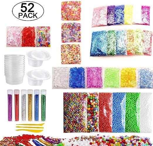 52 Pack DIY Slime Kit Granos De Bolas De Espuma De Colores Granos ...