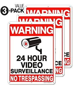"[Enlarged Version] 3 Pack Video Surveillance Sign, 11"" x 8"" No Trespassing Metal Reflective Warning Sign, 0.40 Aluminum Indoor Outdoor for Home Business CCTV Security Camera,UV Protected & Waterproof"