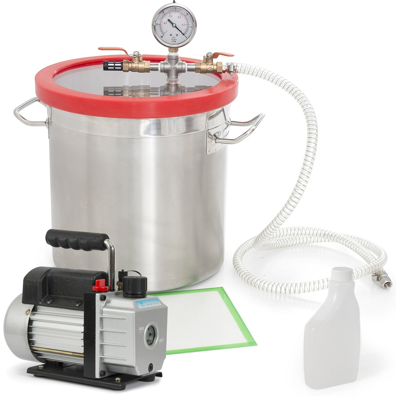 ARKSEN 5CFM Vacuum 1/2HP Pump and Vacuum Chamber 5 Gallon Silicone for Expoxy Degassing Kit by ARKSEN