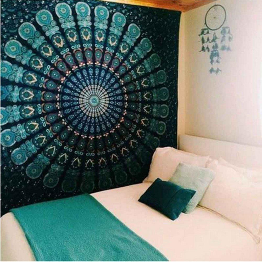 2017 Popular Boho Style Home Living Tapestry Beautiful Living Room/Bedroom Decor Multi Functional Hanging Blanket (71X91Inch, Flower8)