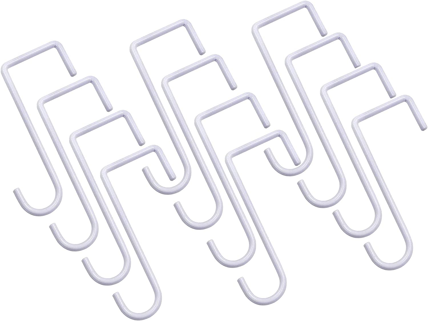 12 Pack Vinly Fence Hooks,2 x 6 inch Fence Hangers Patio Light Hooks, Patio White Powder Coated Steel Fence Hooks for Hanging Plants, Planters, Bird Feeders, Lights