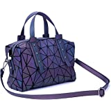 Harlermoon Geometric Holographic Luminous Purses Top-handle Handbags with Zipper Closure Boston Bag for Women