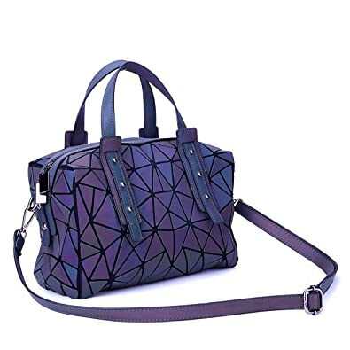 Harlermoon Geometric Holographic Luminesk Purses Satchels Bags with Zipper  Closure Reflective Handbags Medium Boston Bag  Amazon.co.uk  Shoes   Bags f6a9a54b7bc85