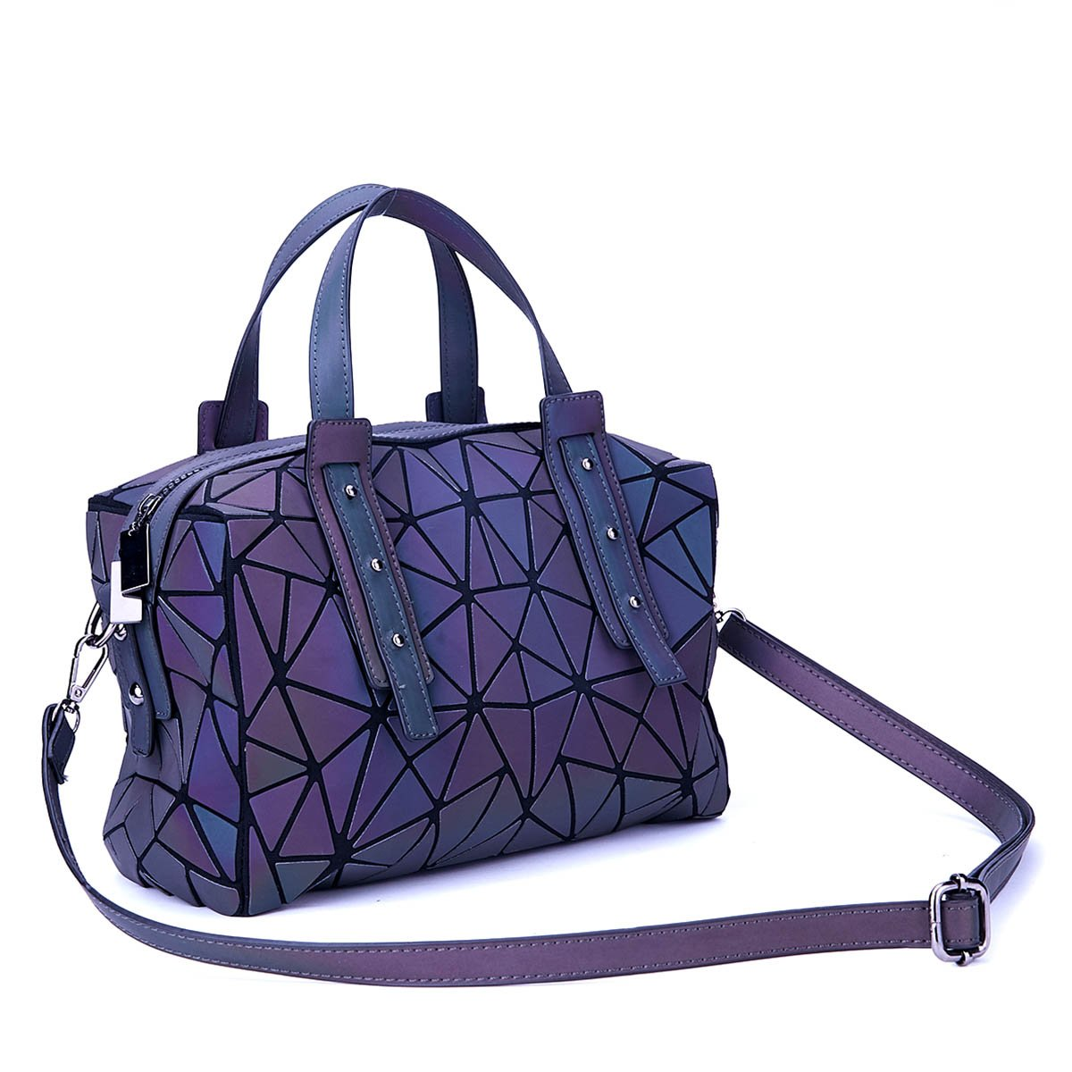 Harlermoon Geometric Holographic Luminesk Purses Satchels Bags with Zipper Closure Reflective Handbags Medium Boston Bag