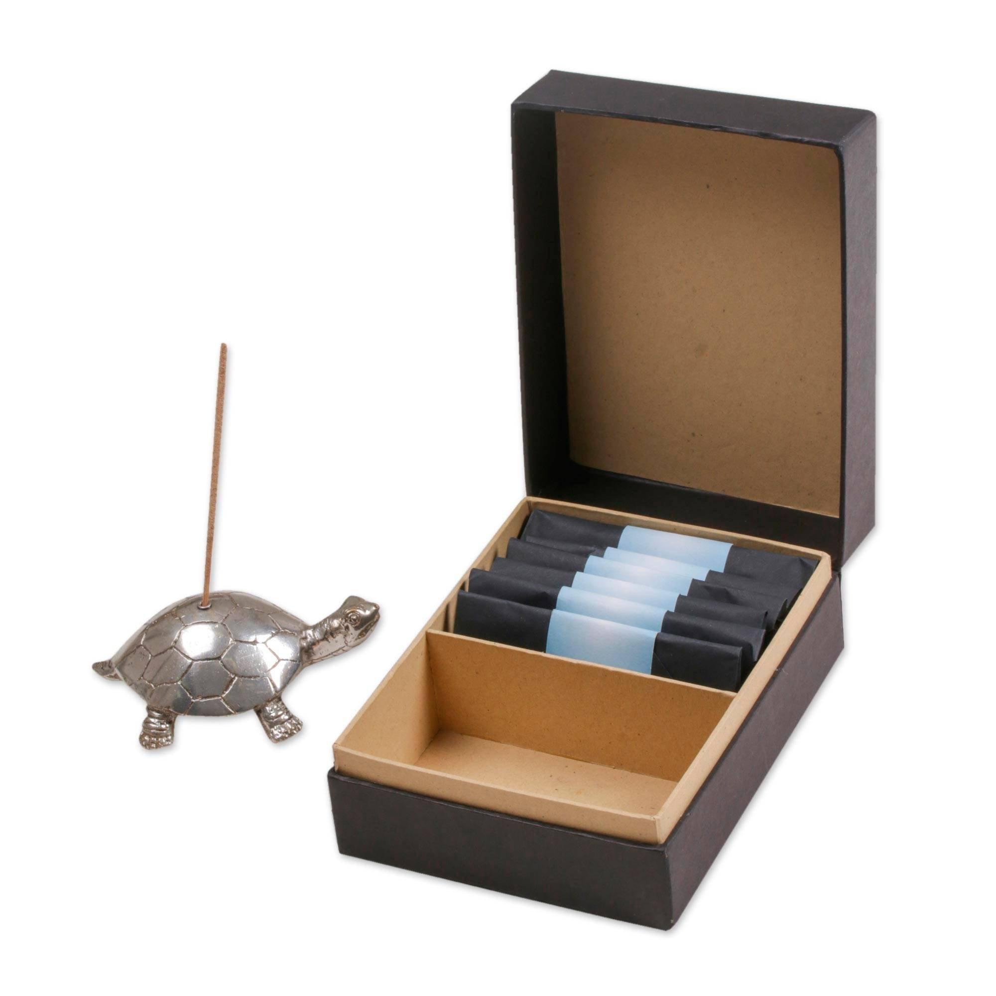 NOVICA Animal Themed Brass Incense Holder, Metallic, Turtle Aroma in Silver'