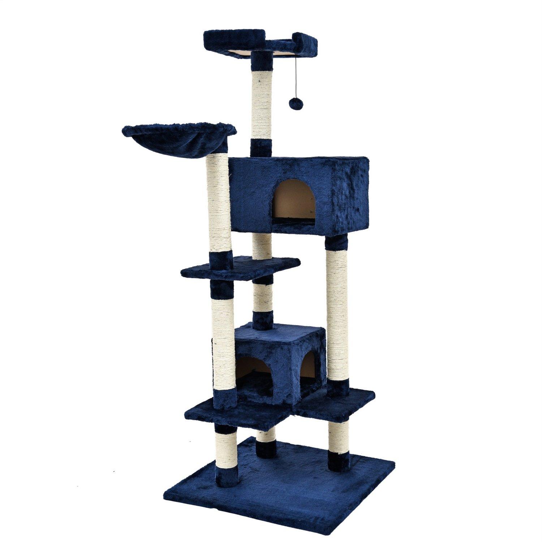 JILAN HOME- Neue Katze Baum Turm Wohnung Möbel Luxus Kätzchen blau Haustier Nest