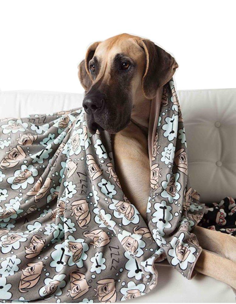 UTEX Premium Microfiber Pet Blanket, for Small/Medium/Large Dogs, Puppy Kitten Bed, Warm, Soft, Plush (Large (57'' x 47''), Sleeping Dog)
