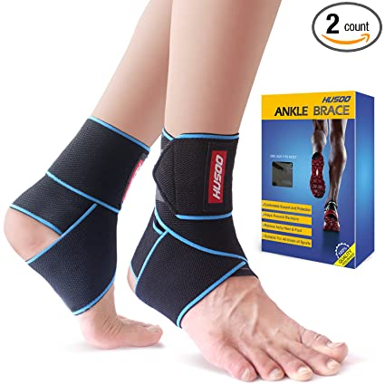 7989bfbc5b Amazon.com: Ankle Brace, Husoo Breathable Ankle Support, Compression Ankle  Wrap for Sports Protect, Ankle Sprain, Plantar Fasciitis, One Size Fits  All: ...