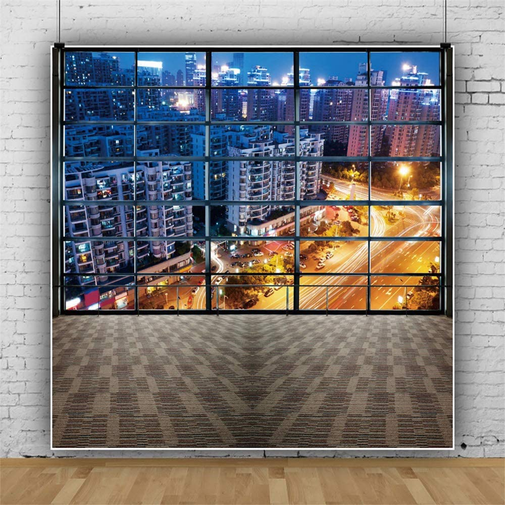 YEELE City Office View Photography Backdrop Urban Night Scene High-Rise Landscape Background 10x10ft Business Indoor Decoration Photo Portrait Booth Shooting Vinyl Cloth Studio Props